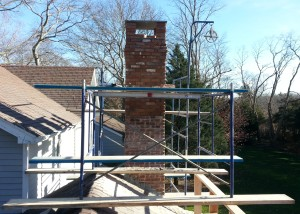 Chimney extended and also extended brickwork to allow for install of bluestone top