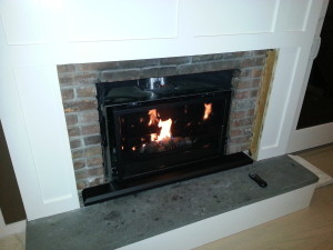 Newly installed gas burning fireplace